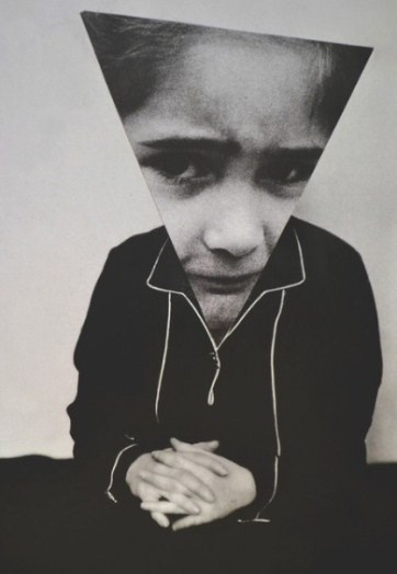 Black and white portrait with an triangular hand cut paper of a kid face over it.