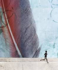 collage of a kid running with a giant feather on the background.
