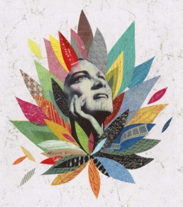 Collage of a woman face surrounded by coloured textures.