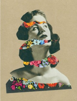 Collage of a woman decorated with flowers.