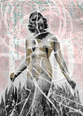 Collage of a fractured woman body.