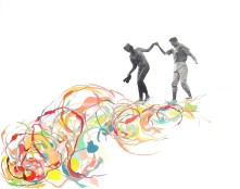 Couple that is walking over some colorful striped organic and abstract elements.