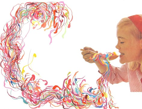 Baby girl eating from a giant wood spoon where they are coming out plenty of colorful striped organic elements.