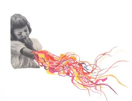 Girl with a lot of colorful organic elements coming out from her arm.