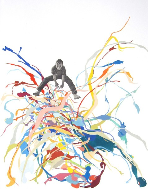 Boy jumping over a colorful and messy abstract element.