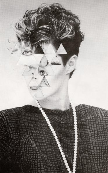 Collage over a vintage defaced woman portrait.