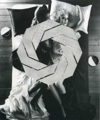 Geometric element over a vintage couple portrait.