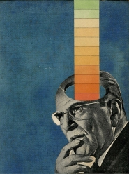 Collage of a vintage man portrait with coloured striped coming out from his head.