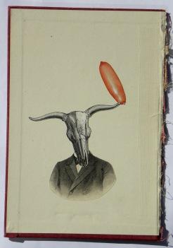 Man portrait with an animal skeleton head.