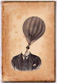 Man portrait with a hot air balloon head.