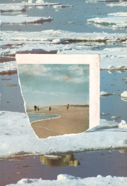 Portrion of a teared off photo of people at the beach putted over an icy landscape photo.