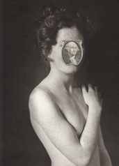 Woman defaced photo covered by a portrait of George Washington.