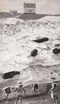 Teared off black and white images of seascapes and kids running.