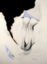 Drawing of female legs.