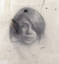 Drawing of a fuzzy female portrait.