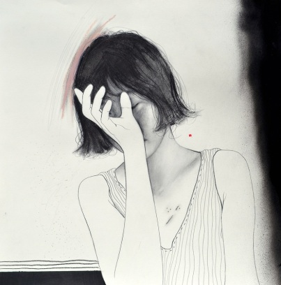 Drawing of a female portrait that is hiding her face with one hand.