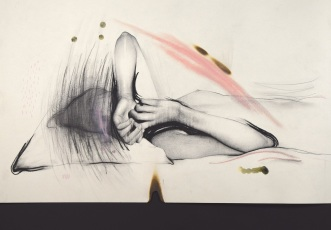 Drawing of a faceless woman portrait.