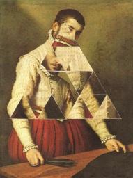 De-structured geometric collage over a classic portrait painting.