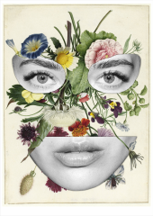 Collage of female portrait decorated with flowers.