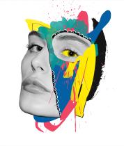 Digital coloured female portrait.