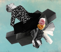 Collage of a female body and geometric forms.