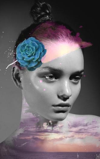 Collage over a female portrait.