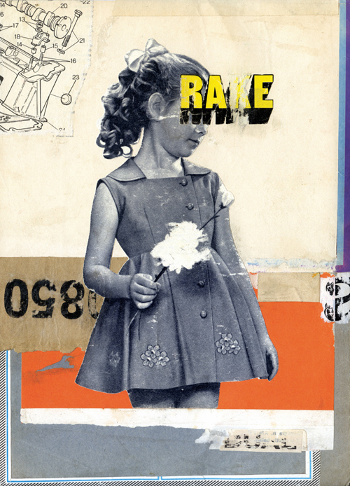 Collage of a vintage defaced baby girl surrounded by an abstract background.