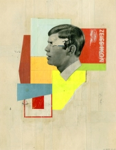 Collage of a defaced man's head putted over an abstract composition.
