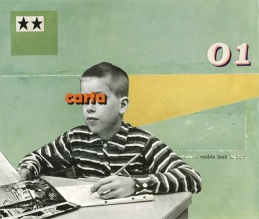 Collage of a defaced young boy sat on a desk and surrounded by an abstract background.