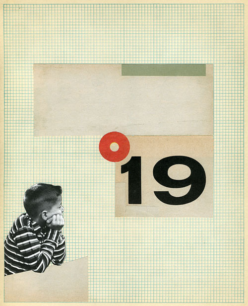 Collage of a boy staring at a giant number.