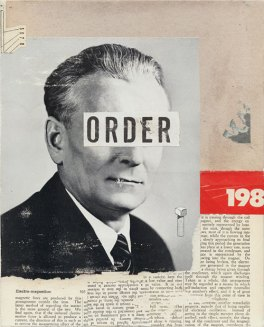 Collage of a defaced man.