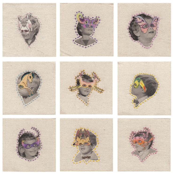 Collage of a series of 9 hand stitched decorations over vintage female and male portraits.