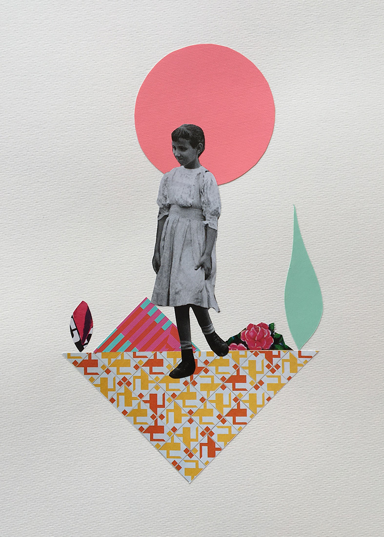 Vintage girl full body portrait surrounded by an abstract geometric landscape.