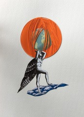 Angel illustration with a rounded orange decoration over him.