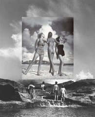 Full body fashion shot of women putted over a landscape photo with male subjects.