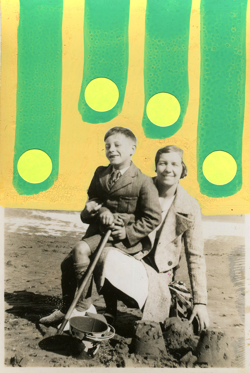 Mother with son on the beach vintage shot decorated with yellow and blue pens and stickers.