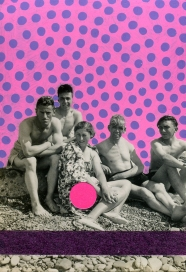 Vintage group photo of young people on the beach decorated using shocking pink and purple pens.