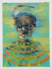Green, mint and orange defaced portrait painting.