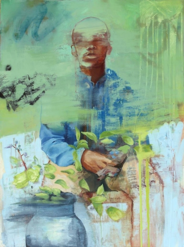 Green and blue defaced portrait painting.