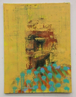Yellow and blue defaced portrait painting.