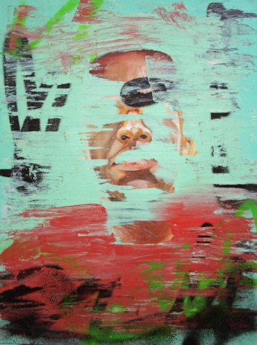 Mint green, green and red defaced portrait painting.