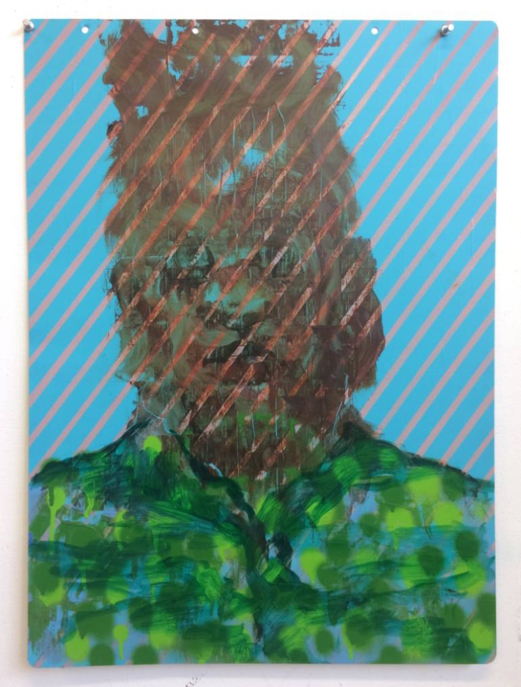Light blue, salmon pink and green defaced portrait painting.