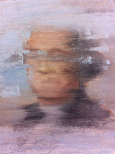 Pastel shades defaced portrait painting.