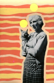 Vintage photo of a woman with cat decorated with orange and yellow pens and neon yellow stickers.