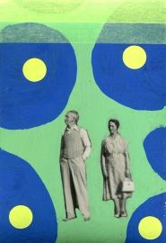 Couple vintage photo decorated with green and blue pens and neon yellow stickers.