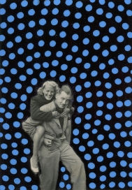 Couple vintage photo manipulated with blue and black pens, using a dotty decoration.