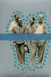 Vintage men group photo manipulated using grey and green pens and emerald green washi tape.
