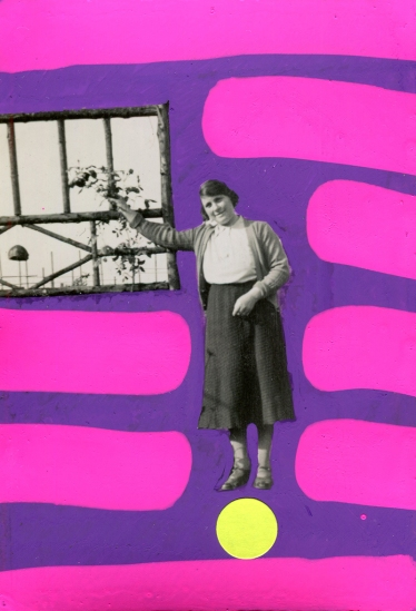 Vintage woman portrait decorated with neon pink and purple pens and neon yellow stickers.