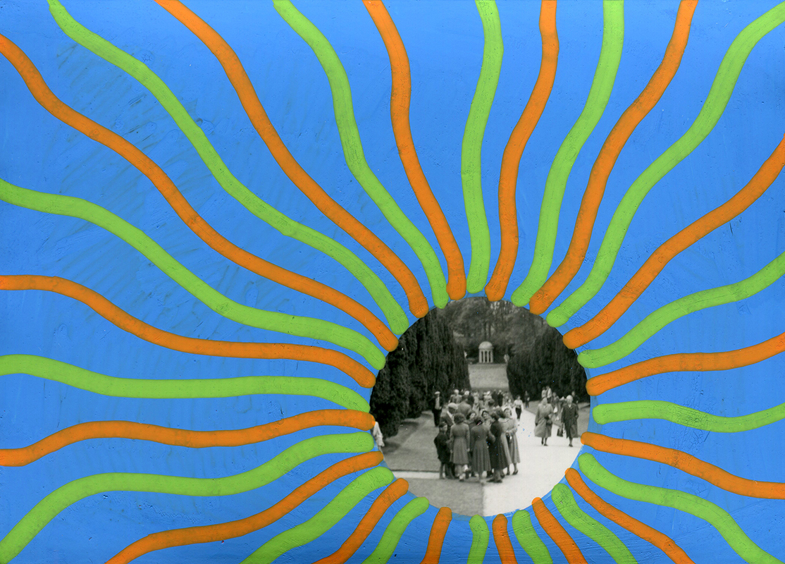 Group photo of people outdoors manipulated using posca pens and a striped decoration.