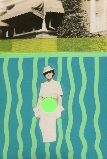 Vintage elegant woman photo decorated with green pens, neon green stickers and light green washi tape.